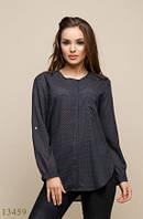Женская блузка Янина черный принт горошек