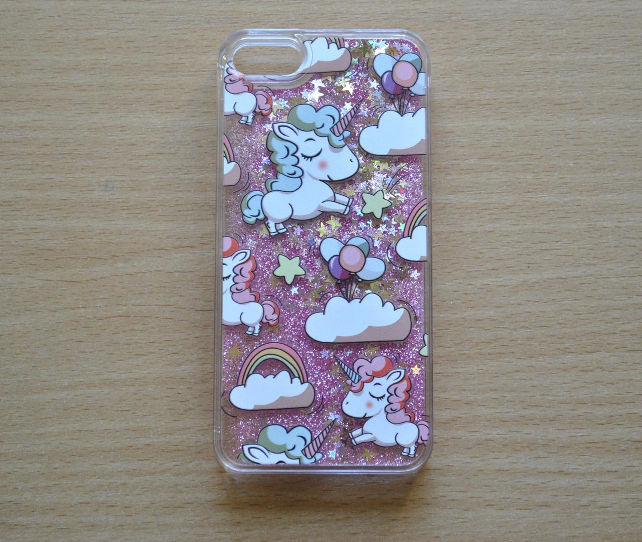 Чехол пластиковый для iphone 5/5S Рисунок - единорог с плавающими РОЗОВЫМИ блестками