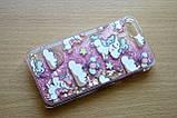 Чехол пластиковый для iphone 5/5S Рисунок - единорог с плавающими РОЗОВЫМИ блестками, фото 2
