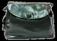 Женская сумочка из натуральной кожи с пуговицей темно-зеленого цвета GIM-060087, фото 1