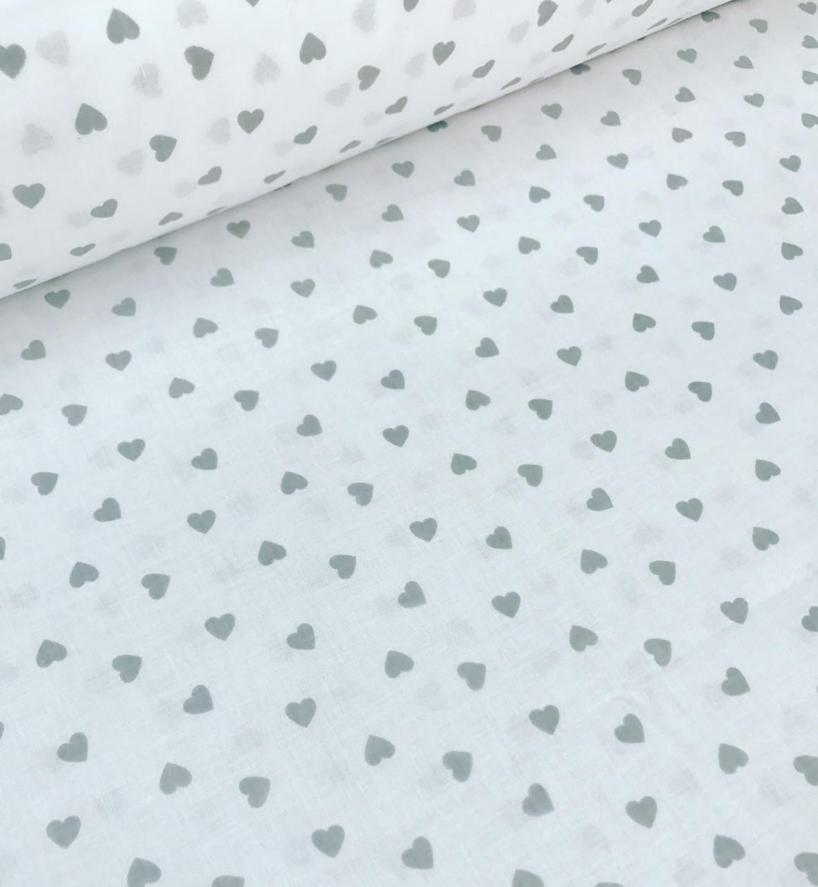 Хлопковая ткань польская сердца серые на белом