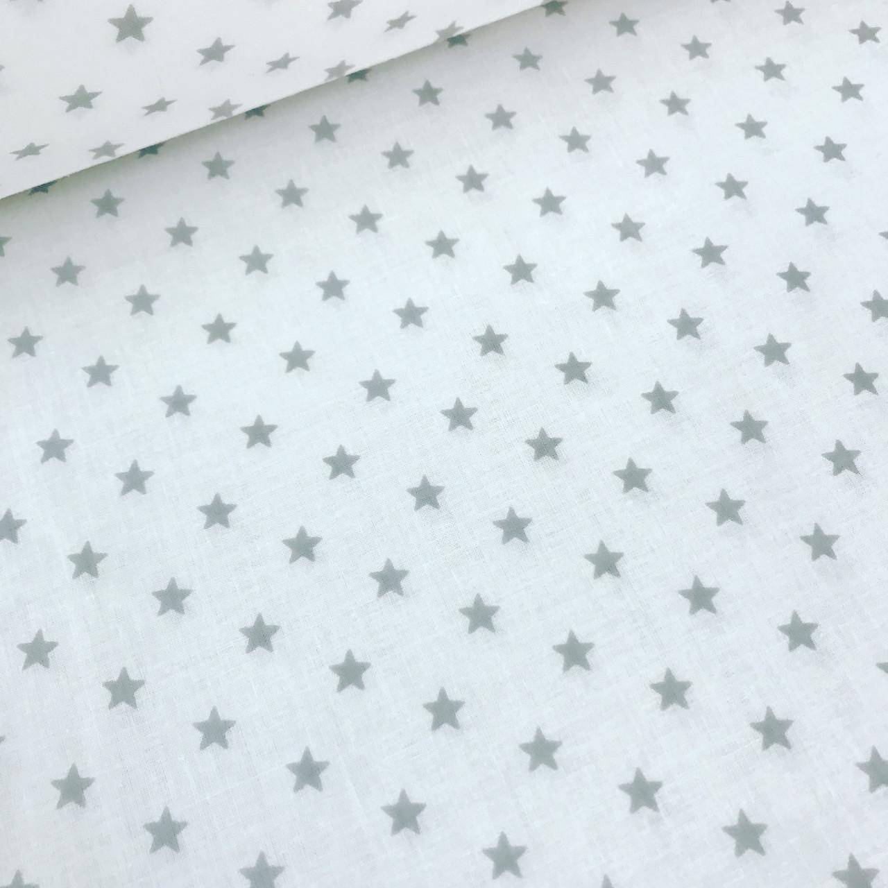 Хлопковая ткань польская серые мелкие звезды 10 мм (1см) на белом