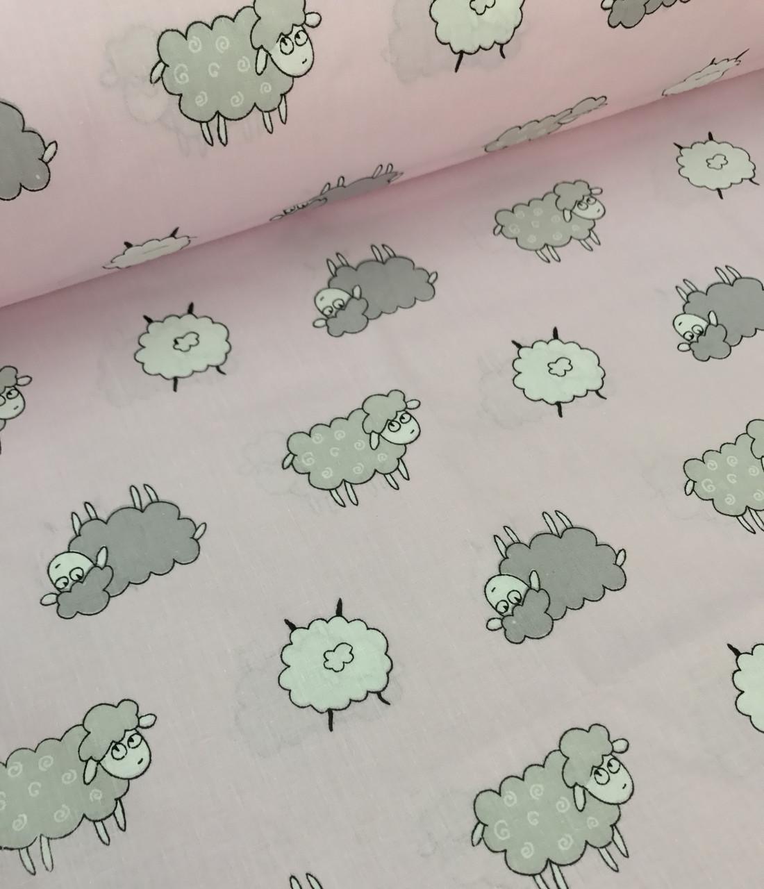 Хлопковая ткань ЛЮКС польская овечки серо-белые на розовом