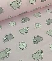Хлопковая ткань польская овечки серо-белые на розовом