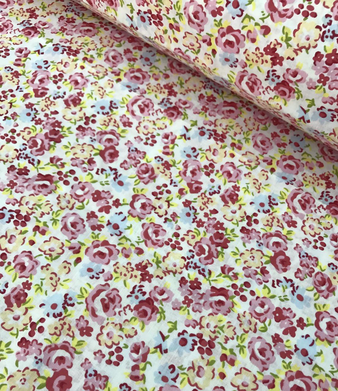 Хлопковая ткань польская цветы розовые