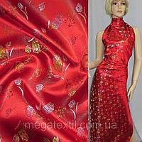 Атласная ткань шелк восточная красная с тюльпанами атлас