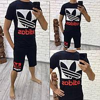 Летний спортивный костюм футболка и шорты, лого Adidas