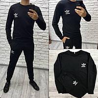 Мужской спортивный черный костюм кофта и штаны, лого ADIDAS
