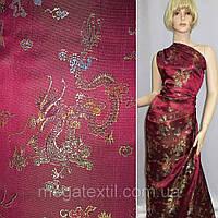 Атласная ткань шелк восточная вишневая с драконами атлас