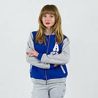 Синяя спортивная женская кофта олимпийка с принтом A