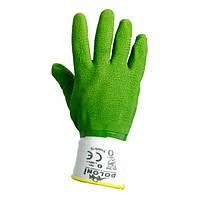 Перчатки ТМ Doloni с латексным покрытием ребристый зеленые размер 10