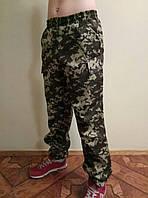 Камуфляжные мужские штаны с резинкой на поясе  с манжетом на резинке 1.