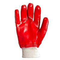 Перчатки ТМ Doloni с ПВХ покрытием полный облив красные размер 10