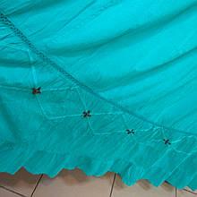 Юбка бирюзовая хлопок женская с вышивкой 56-58 р