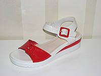 Летние женские босоножки сандалии белые красные на низком ходу регулируется подъем и полнота