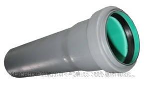Труба 50х1,8х150 ПП Европласт раструбная с уплотнительным кольцом для внутренней канализации серая