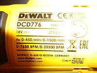 Аккумуляторная дрель DeWALT DCD 776 Шуруповерт