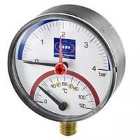 """Термоманометр Officine Rigamonti вертикальный (радиальный) с клапаном 1/2"""" до 4 bar"""