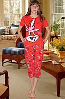 Пижама (футболка и капри) (Красный)