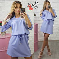 Платье модное короткое с утяжкой на талии супер-софт разные цвета SMf1536