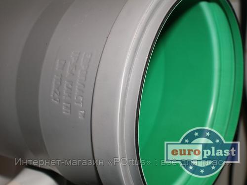 Труба 110х2,7х150 ПП Европласт раструбная с уплотнительным кольцом для внутренней канализации серая