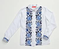 Блуза белая для девочки с синей вышивкой Розы
