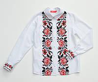 Блуза белая для девочки с вышивкой в красно-черном цвете Розы
