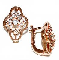 Серьги XР, цвет советского золота. Камень:белый циркон. Высота серьги: 1,5 см. Ширина: 11 мм.