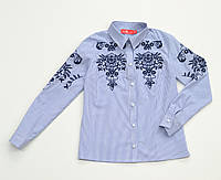 Блуза для девочки в синюю полоску с вышивкой р.134