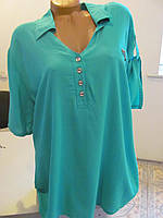Блуза штапельная летняя большого размера, размер 54 код 1220М