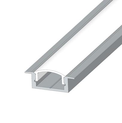 Алюминиевый врезной LED профиль ЛПВ-7 анод + линза рассеиватель