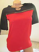 Блуза летняя с коротким рукавом шифоновая черно-красная, отлично под юбку или брюки, размер 42 код 3841М