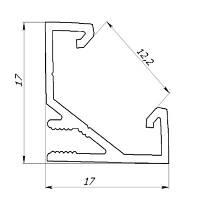 Угловой алюминиевый профиль для led ленты ЛПУ-17 + линза рассеиватель (СТАНДАРТ)