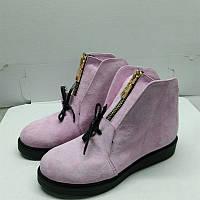 Ботинки женские зима/весна кожа, замша черные и розовые 0054АЛМ