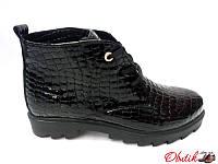 Ботинки женские осенние низкие Украина лаковая кожа питона 0100УКМ