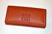 Женский стильный кожаный коричневый кошелек