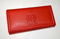 Модный женский красный кожаный кошелек. отличное качество