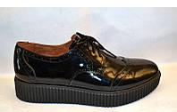 Туфли-броги женские закрытые Украина лаковая кожа 0079УКМ