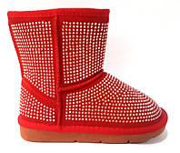 Угги модные детские для девочки замша черные, красные 0093КФМ