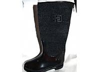 Женские стильные резиновые сапоги черные 0132УКМ
