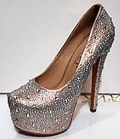 Туфли женские серебро в стразах 0196КФМ