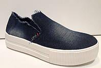 Слипоны женские стильные джинсовые 0211КФМ