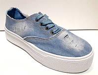 Слипоны женские джинсовые светлые на шнурках 0212КФМ