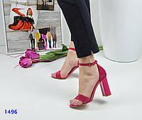 Женские босоножки на каблуке 9,5 см, велюр, розовые / летние босоножки для девочек, стильные