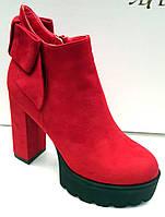 Ботильоны стильные красные на толстом каблуке 0220КФМ