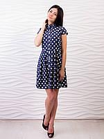 Темно-синее летнее платье в белые горохи