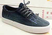 Слипоны-криперсы  женские джинса 0228КФМ