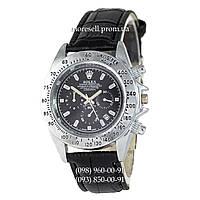 Часы Rolex Cosmograph Daytona Quartz Leather Black-Gold-Black