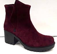 Ботинки женские замшевые на толстом каблуке 0187УКМ