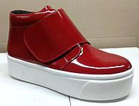 Слипоны-ботинки женские лаковые 0023УРБМ